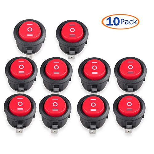 Conwork 10-Pack SPDT Type Round Switch, 3 Pin 3 Position ON/OFF/ON Boat Rocker Switch 10A/125V 6A/250V AC for Truck Boat (Triple Pole Single Throw)