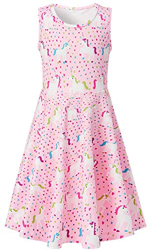 - Sundress for Girls Size 7-8,Fashoin Little Girls Crew-Neck Tunic Skater Playwear Dress Sleeveless Flare Dress in Summer (L,Horse)