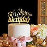 KISKISTONITE Happy Birthday Cake Toppers Soccer Name Custom Birthday Personalized Cake Decoration Favors Party Cake Decorating Supplies for Boys