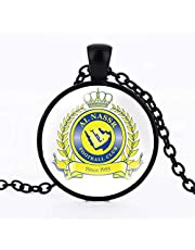 Black Chain necklace with circle pendant with Al-Nasser Club logo