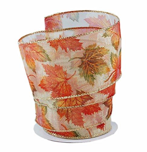 Beautiful Fall Leaves Orange & Green Sheer Wired Ribbon #40-2.5in x 10 yards -