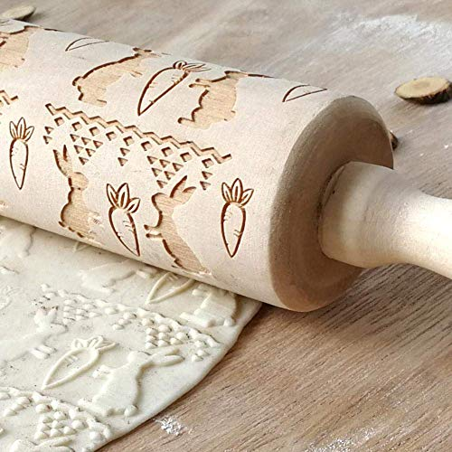 Embossing Rolling Pin, DesignerBox Easter Symbol Patterns Wooden Engraved Embossing Rolling Pin Baking Roll for DIY…