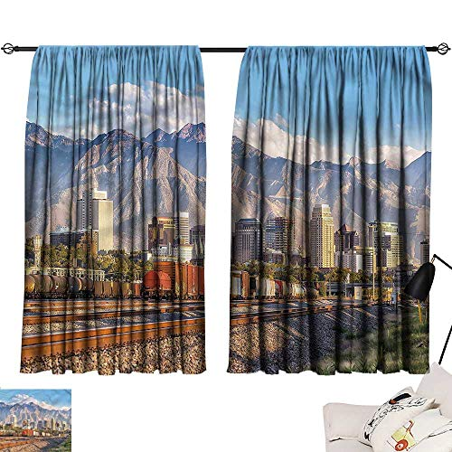 Jinguizi Privacy Assured Window Treatment Darkening Curtains Landscape,Salt Lake City Utah USA,Party Curtain for Bedroom W84 x L72]()