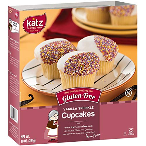 Katz Gluten Free Vanilla Sprinkle Cupcakes | Dairy, Nut, Soy and Gluten Free | Kosher (1 Pack of 4 Cupcakes, 10 Ounce)