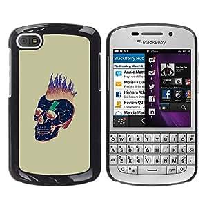 GOODTHINGS Funda Imagen Diseño Carcasa Tapa Trasera Negro Cover Skin Case para BlackBerry Q10 - punky muerte cráneo del oro del pelo negro