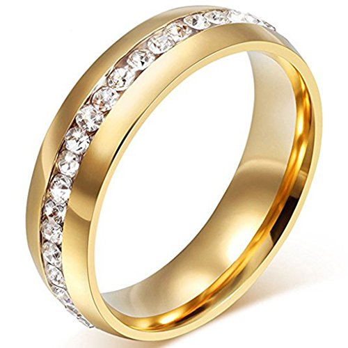 LEEYA NL19 Mens Womens 6MM Titanium Stainless Steel High Polished 18K Gold Plated Channel Set Cubic Zirconia CZ Promise Engagement Band Unisex Gold Wedding Ring Comfort Fit, Size 6-13 (10, Gold) ()