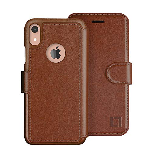 LUPA iPhone XR Wallet case, Durable and Slim, Lightweight with Classic Design & Ultra-Strong Magnetic Closure, Faux Leather, Caramel Brown, for Apple XR.