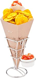 Cone Tek 9.5 Inch French Fry Cones, 100 Recyclable Food Cones - Built-In Sauce Cup, Grease-Resistant Lining, Bamboo Print Paper Snack Cones, For Appetizers And Charcuterie - Restaurantware
