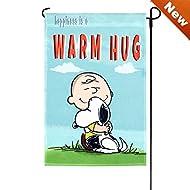 "Peanuts HAPPINESS IS A WARM HUG Garden Flag 12 x 18"" Snoopy"