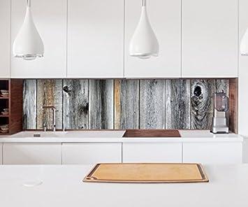 Aufkleber Küchenrückwand Holz grau Brett Holbretter Optik Folie ...