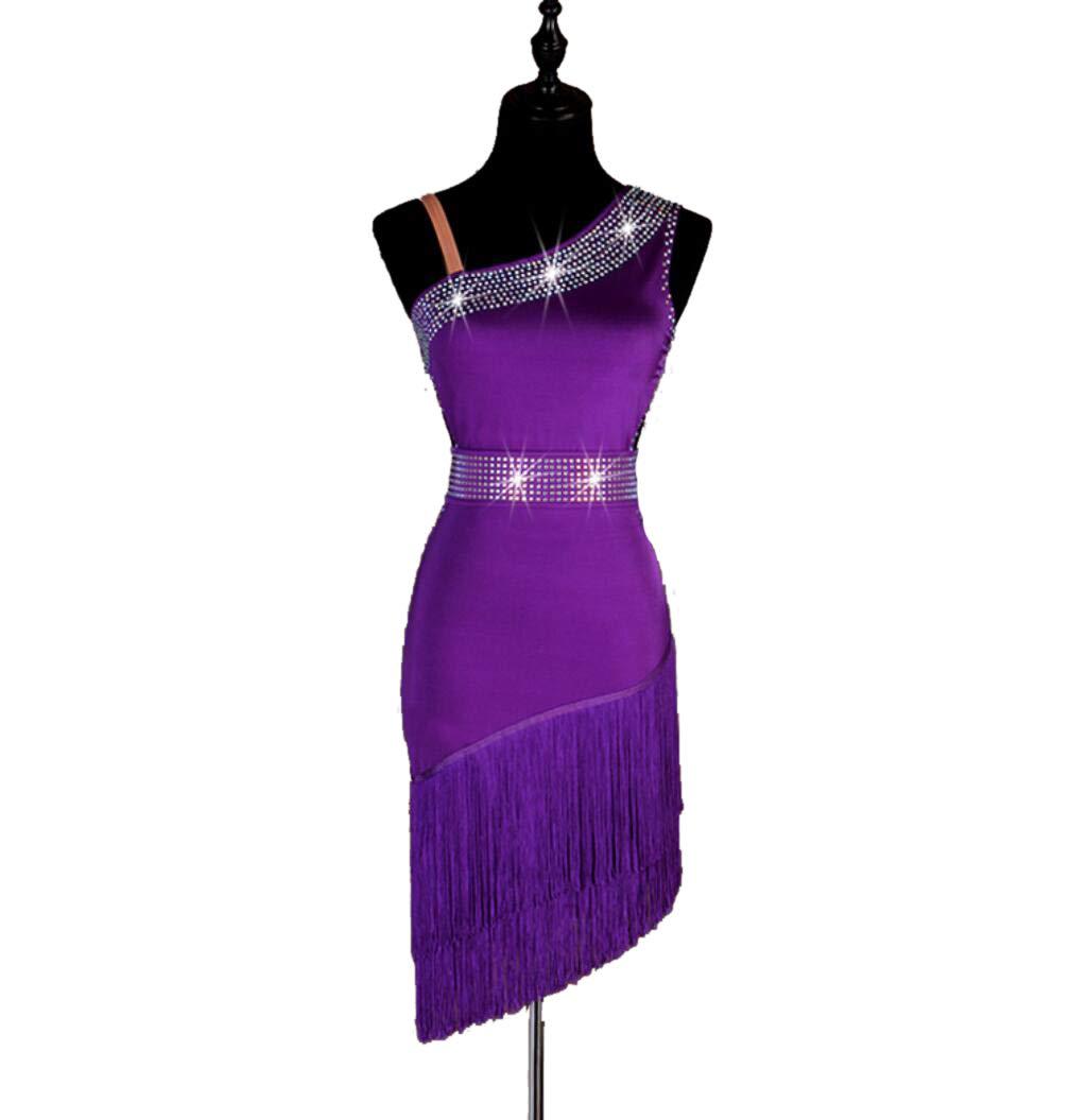 violet L ZYLL Robe de compétition de Danse Latine pour Femmes à Franges de Diahommet, Costume de Danse Latine sans Manches pour Adultes
