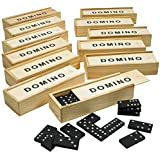 Wooden Dominoes Set - Pack of 12 Classic Board Games - Building Blocks, Educational Toys, Game Tiles, Leisure Time, Perfect for Toddler and Adult