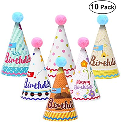 NUOLUX 10pcs Sombreros Lindos del Cono del Partido Gorros de Fiesta Sombreros de Papel del cumpleaños de la Torta con Pom Poms para los niños