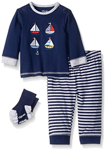 Little Me Boys' 3 Piece Jogger Pant Set with Socks, Navy Stripe, 9 - Stripe Stockings Piece 3