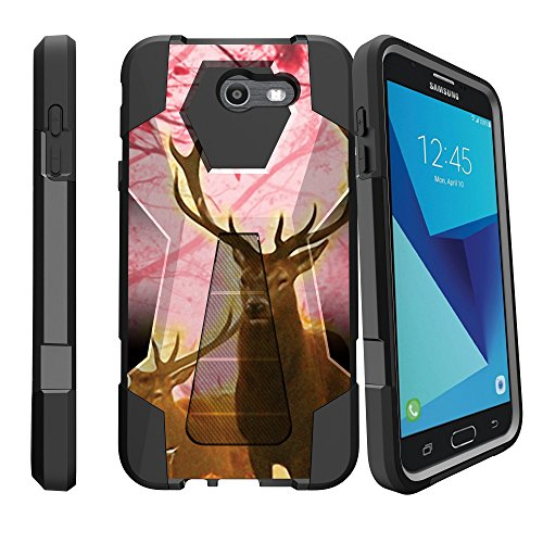 Dual Layer Case by MINITURTLE Compatible with Samsung Galaxy J7 2017, J7 Perx, J7 Sky Pro [Shock Fusion Kickstand Series] Silicone Bumper - Pink Deer Stag ()