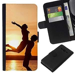 KLONGSHOP // Tirón de la caja Cartera de cuero con ranuras para tarjetas - Puesta del sol de la felicidad - Samsung Galaxy A3 //