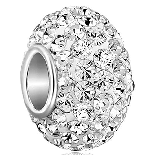 CharmSStory 925 Sterling Silver White Simulated Birthstone Charms Synthetic Crystal Bead For Bracelets (Crystal Pandora Charms)