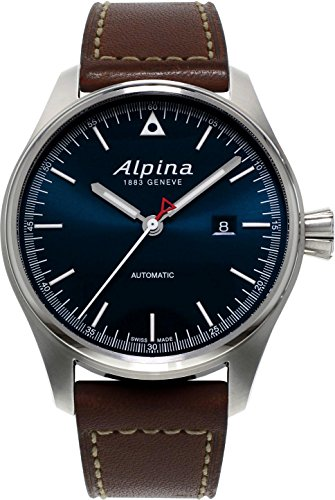 Alpina Startimer Pilot Automatic Date 44mm Blue Face Swiss Alpina Watch Men - Limited Edition Water Resistant Brown Leather Band Automatic Watch AL-525N4S6