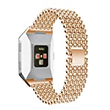 HP95 Replacement Watch Bands For Fitbit Ionic Women Alloy Beads Bracelet Strap with Quick Release Clasp