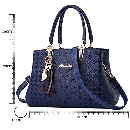 Azul casual PU Tisdaini piel de Dama bolso Mujer bandolera Real bolsa bolso Moda mano Nuevo 44xqR8wO