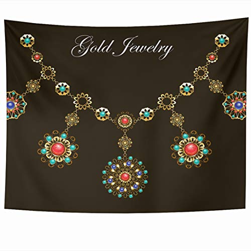 Ahawoso Tapestry 80x60 Inch Necklace Red Gem Ethnic Gold Semiprecious Stones Lapis Carnelian Boho Gemstone Medallion Turquoise Tapestries Wall Hanging Home Decor for Living Room Bedroom Dorm ()