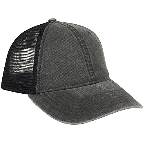 r Cotton Twill Mesh Back Low Profile Trucker Hat - Black ()