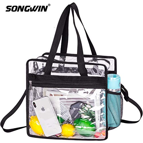 Songwin Clear Bag NFL & PGA Stadium Approved - The Clear Tote Bag with Adjustable Shoulder Strap and Zipper Closure is Perfect for for Work,School,Sports Games and Concerts.-12