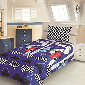 Childrens Kids DOUBLE BED SIZE RACING CAR DESIGN BOYS DUVET COVER AND PILLOWCASE SET By Viceroybedding
