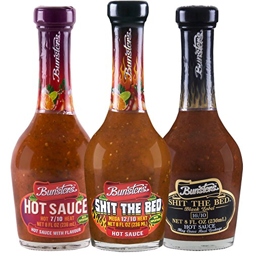 Bunsters Hot Chili Pepper Sauce - 3 Pack Set - Including Shit the Bed Hot Sauce, 8 fl oz by Bunsters