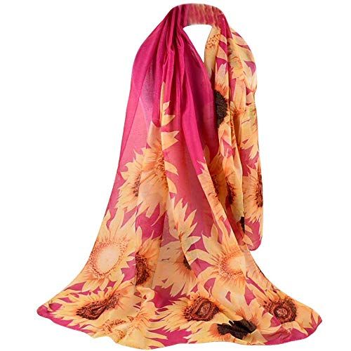 URIBAKE ❤ Autumn Women's Shawl Floral Printed Soft Voile Wraps Scarf (Pink) (Circle Echo Velvet)