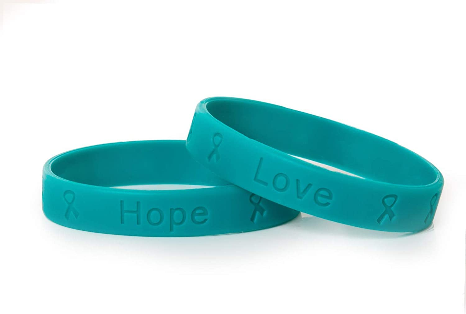 Amazon Com Fundraising For A Cause Teal Ovarian Cancer Bracelet Teal Ribbon Cancer Awareness Silicone Bracelet For Adults 1 Bracelet Jewelry