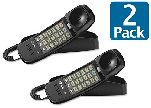 - AT&T 89-0008-05 Model 210BK Trimline Corded Phones (2-Pack) in Black, Simple corded operation, No AC power required, Lighted keypad, Line power mode, One-touch memory buttons, 10-number speed dial