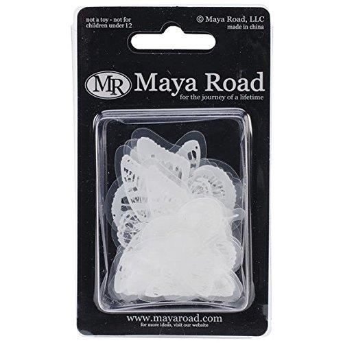 Maya Road Transparencies Die-Cuts, Vintage Butterflies, White, 14-Pack