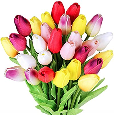 28 Pcs Multicolor Tulips Artificial Flowers Faux Tulip Stems Real Feel Pu Tulips For Easter Spring Wreath Wedding Bouquet Centerpiece Floral Arrangement Cemetery Table Decor 14 Tall Amazon Sg Home