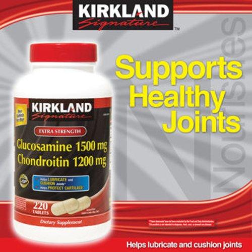 Киркланд Extra Strength Глюкозамин Хондроитин - 1 бутылка, 220 таблеток, каждая из