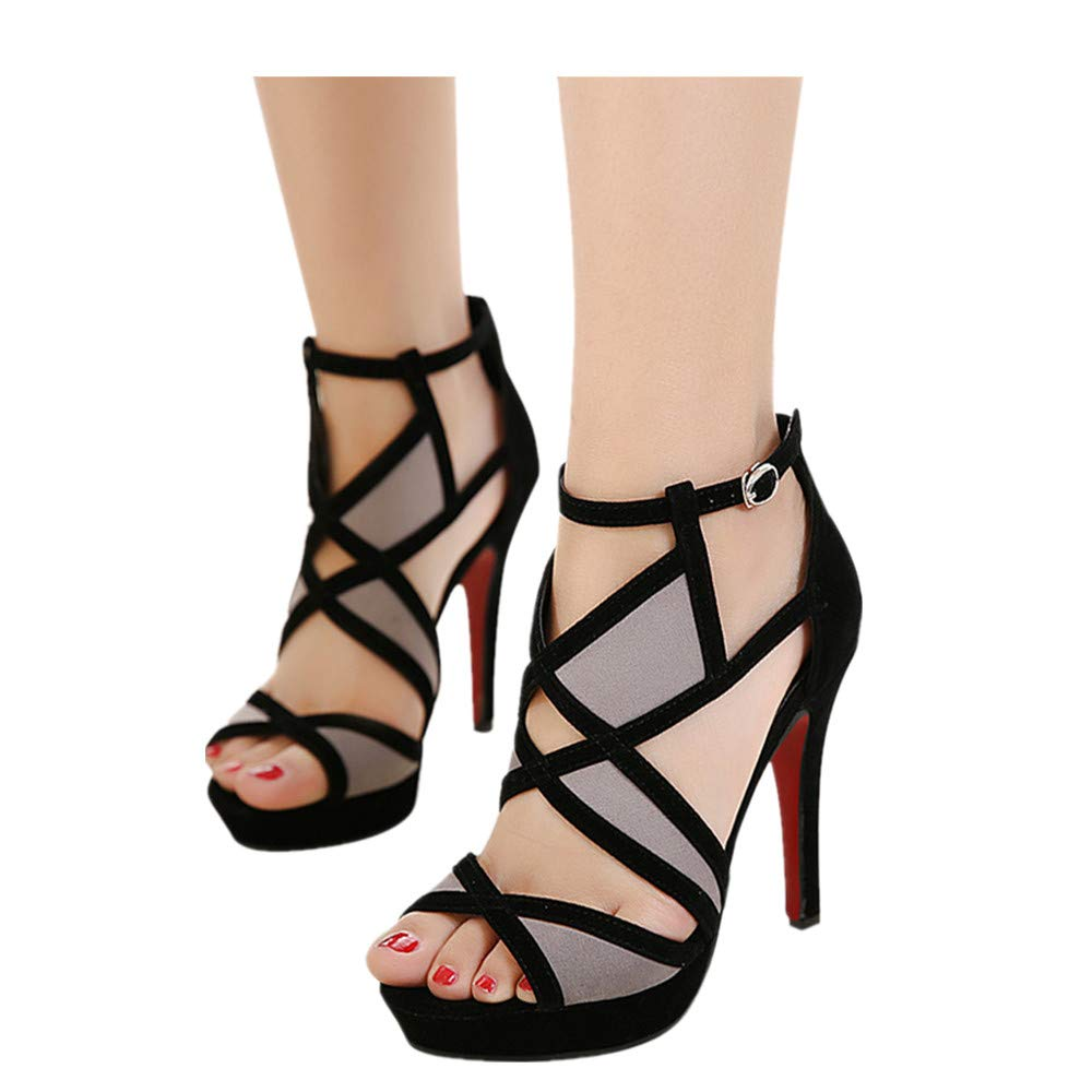 Cut Out Ankle Boots Peep Toe Platform Strappy High Heel Party Prom Pumps Sandals Women (Black, US:6.0)