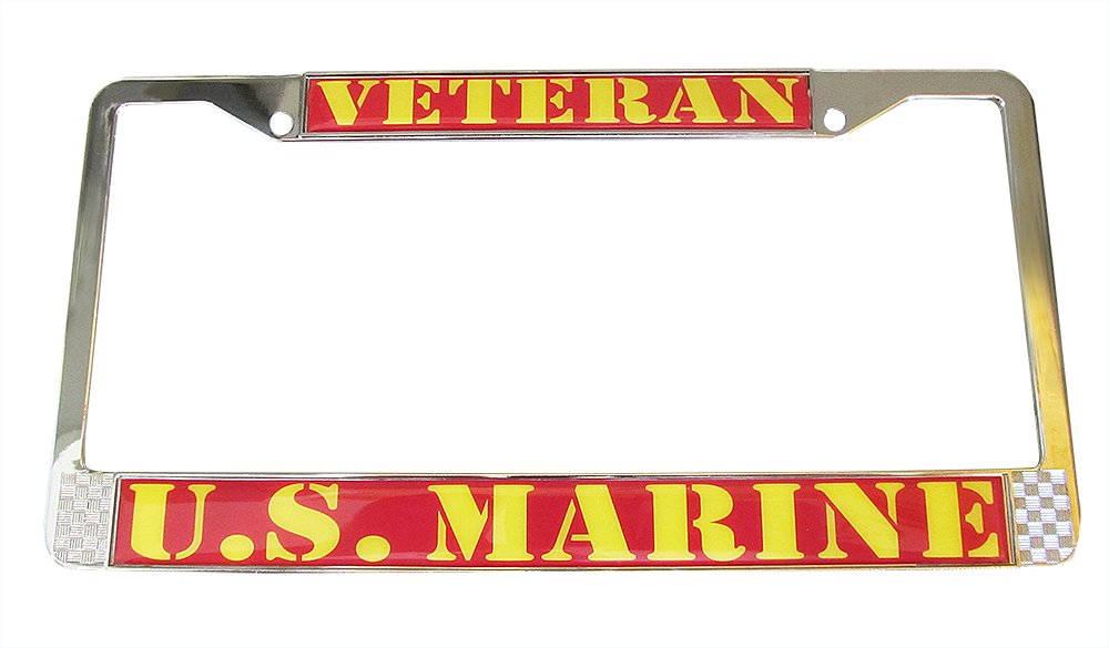 MARINE VETERAN Auto License Plate Chrome Frame USMC Made in the USA Eagle U.S