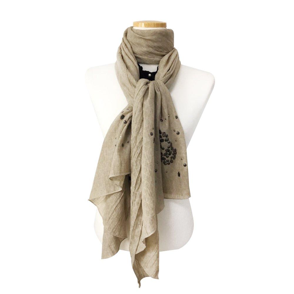 Unisex Fashion Long Unique Skull Buckle Scarf Shawl, Winter Scarf Soft Elegant Large Fashion Wrap Scarves, Lightweight, Beige