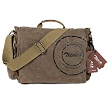 Zicac Unisex Men Womens Canvas Leather Cross Body Retro Messenger Bag Traval Shoulder Bag DSLR Camera Bag School Bag Purse Laptop Ipad A4 Book Bag