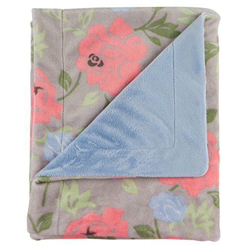 "Posh Designs Ultra Soft Baby Receiving Blanket - Luscious, Luxurious and Cuddly Minky Reversible Blankie - Rose Garden - 30"" x 36"