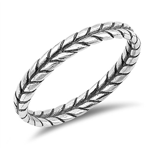 Thin Braid Leaf Rope Thumb Ring New .925 Sterling Silver Band Size (Rope Thumb Ring)