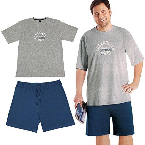 Übergößen Pyjama - Schlafanzug Herren - Schlafshirt - Pyjama Shorty Herren mit Modellauswahl (3XL, grau/blau)
