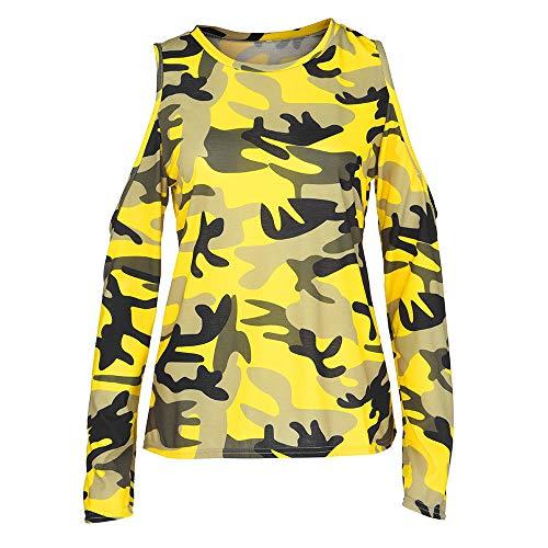 Xinantime L Les Shirt Femmes M en Jaune XL T Chemisier Manches Femme S Mode Longues l'paule Camouflage w6Cqwrt