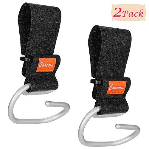 Eggsnow Stroller Hooks(2 Pack) Adjustable Stroller Hanger Clip Universal Handy Hook for Strollers/Walkers Aluminum-Black from Eggsnow