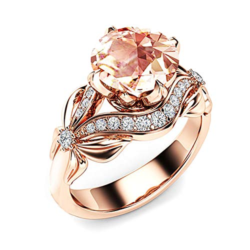 soAR9opeoF Bridal Bow Cubic Zirconia Finger Ring Wedding Party Engagement Mother's Day Gift Jewelry Gift Rose Gold US 6