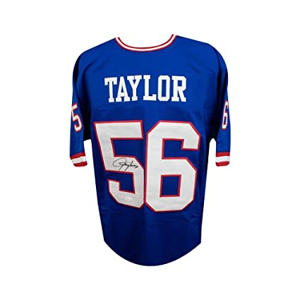 7184e6c6812 Lawrence Taylor Autographed New York Giants Custom Blue Football Jersey JSA  COA