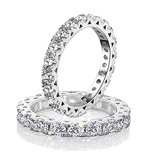 Diamonbella Simulated Diamond Hearts & Arrows Stackable 3mm Width Eternity Band Ring Solid 925 Silver Platinum Plated (8)