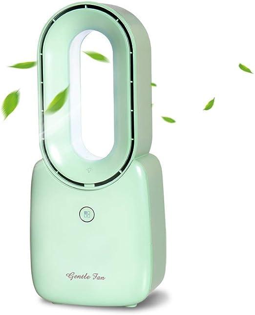 Ventilador sin aspas, ventilador de mesa USB Ventiladores de seguridad suaves y suaves Brisa Funcionamiento silencioso con 4 velocidades de viento, 5 colores de luz ...