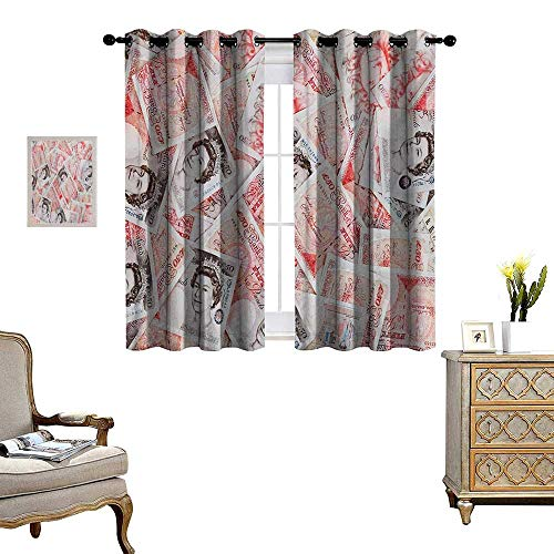 Money Patterned Drape for Glass Door Bullseye Notes with a Portrait of Queen of England Paper Bills of Great Britain Waterproof Window Curtain W55 x L72 Scarlet Taupe (Bullseye Plum Light)