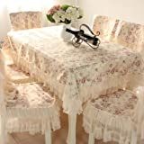"""Country style lace coffee grace floral design rectangular tablecloths cream 51""""70""""(130 180cm)"""